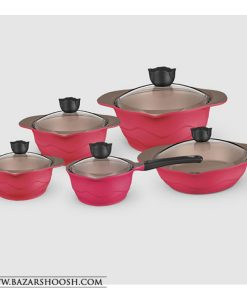 UNIQUE 10PCS ROUGED CERAMIC POT AND PAN COOKWARE SET- UN 882