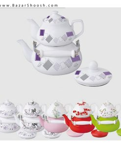 7539-Unique-Enamel-kettle-And-Porcelain-Pot-Set