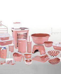 سرویس آشپزخانه پلاستیکی برای جهیزیه لیمون مدل نارین 58 پارچه
