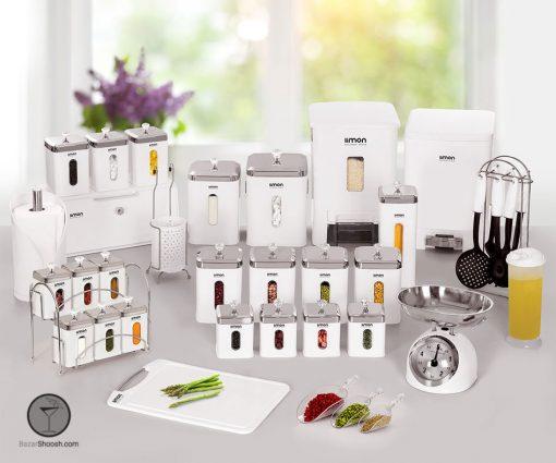 سرویس آشپزخانه سفید لیمون 37 پارچه مدل چهار گوش