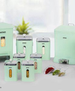 سرویس 9 پارچه آشپزخانه لیمون مدل چهار گوش