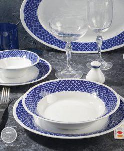 سرویس غذا خوری سری شهرزاد چینی زرین مدل بلورین 108 پارچه مناسب برای 12 نفر