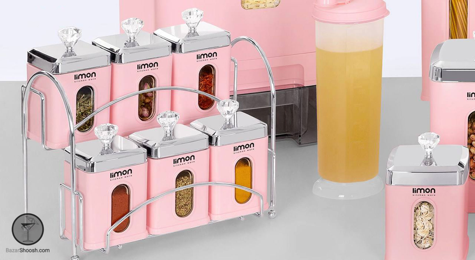سرویس آشپزخانه 22 پارچه چهارگوش لیمون رنگ صورتی پاستیلی Bazarshoosh