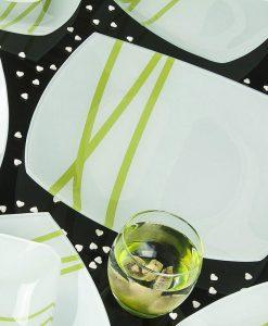 سرویس غذاخوری شیشه ای آرکوفام مدل آکسفورد سبز رنگ کد 789