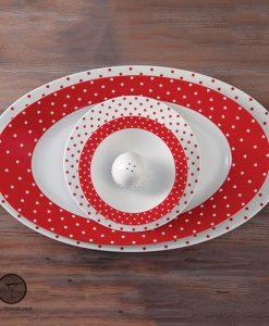 سرویس اسپاتی قرمز 28 پارچه ایتالیا اف چینی زرین مناسب برای 6 نفر