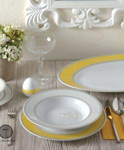 سرویس سویل زرد چینی زرین 6 نفره سری ایتالیا اف 28 پارچه