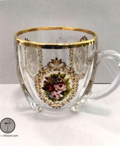 فنجان سلتیک لب طلایی گل رز چین