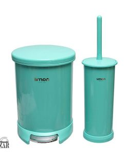 سطل و فرچه سرویس بهداشتی گرد درب رنگی لیمون