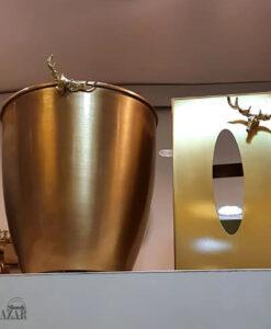 ست سطل زباله و جا دستمال طلایی