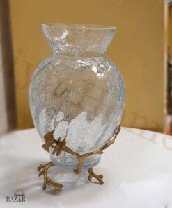 گلدان ترک دار شیشه ای دکوری